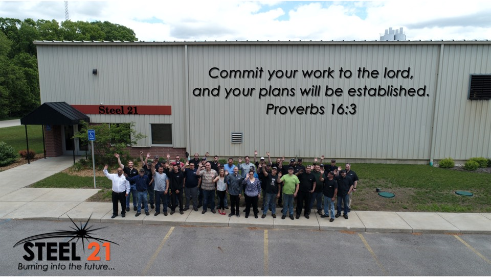 Steel 21's steel plate services started in Cedar Springs on an empty lot. 5 Years later, the company has over 50 employees (shown in the photo).